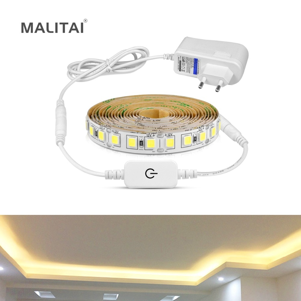 Tira de luz LED regulable de 5M 12V 4040 SMD interruptor de Sensor táctil 110 V-220 V 2A fuente de alimentación para debajo del armario cocina luz