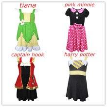 Платье для девочек на день рождения, платье с Минни и тианой, платье для вечеринки с крючком в виде коса