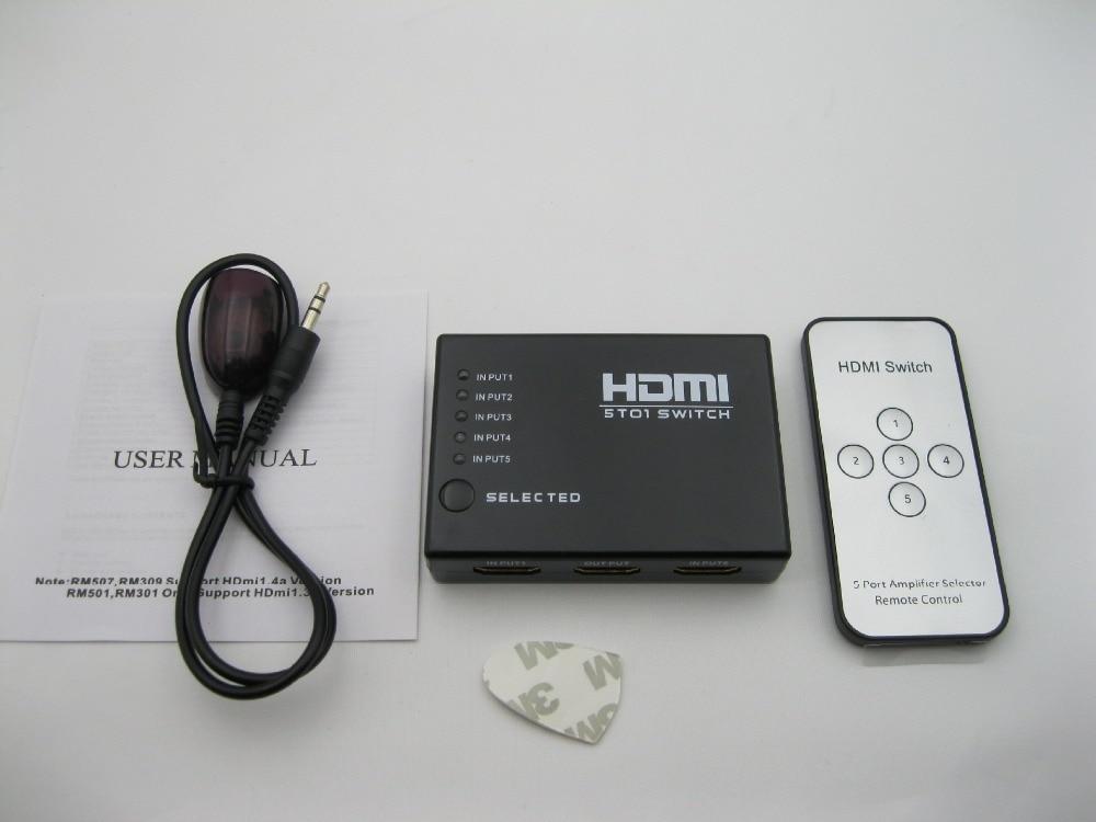 Mini 5 puertos HDMI Switch 5x1 conmutador HDMI 5 entrada 1 salida divisor HDMI puerto para HDTV 1080P Video con control remoto AVCRM501