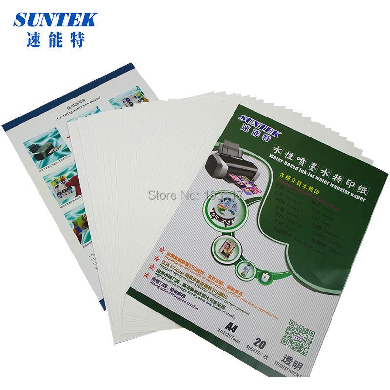 (20 unid/lote) Papel de calcomanías de agua de inyección de tinta transparente en blanco para cerámica