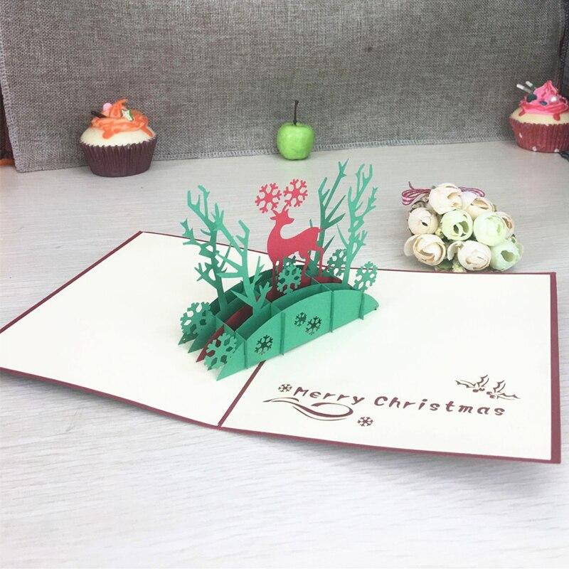 1 шт. рождественские олени лазерная резка 3D ручной работы всплывающие поздравительные открытки открытка Киригами День благодарения рождес...