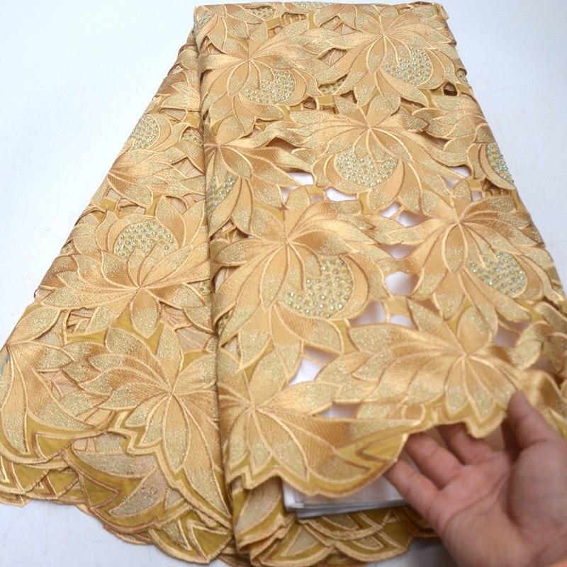 Oro de alta calidad suizo Voile encajes en Suiza 100% de algodón de corte a mano africano encaje tela nigeriano hombre Voile encaje 5 yardas QG867