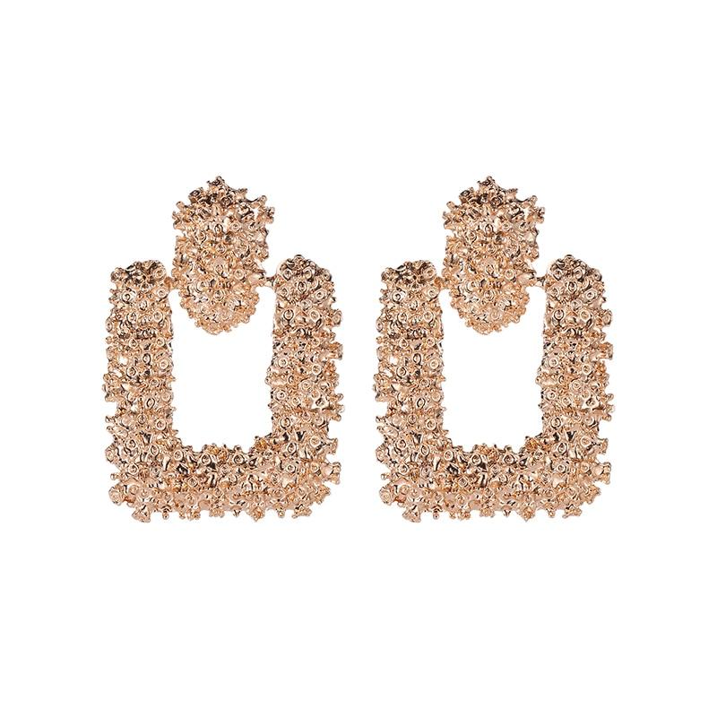 Roughened Surface Geometric Metallic Drop Earrings Rose Golden Silver Dangle Earrings for Women