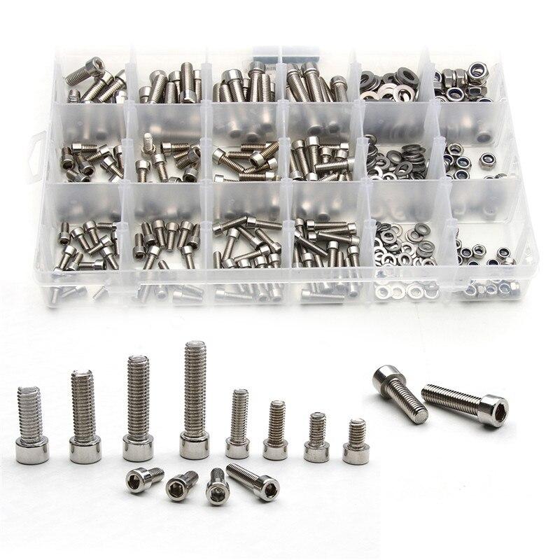 مجموعة متنوعة من مسمار الأسطوانة برأس سداسي من الفولاذ المقاوم للصدأ ، 345 قطعة M5/M6/M8