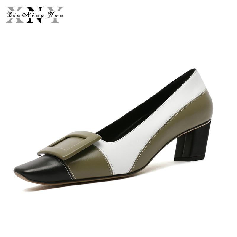 Zapatos XIUNINGYAN 2019 de moda para mujer, zapatos de vestir de marca, tacón medio, 100% de cuero genuino, zapatos de tacón con agujeros para mujer, zapatos de fiesta de oficina para mujer