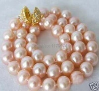 discountdiy charmming 12 mm pink sea shell pearl necklace 18 beads jewelry making aaa about33pcsstrands ys0352