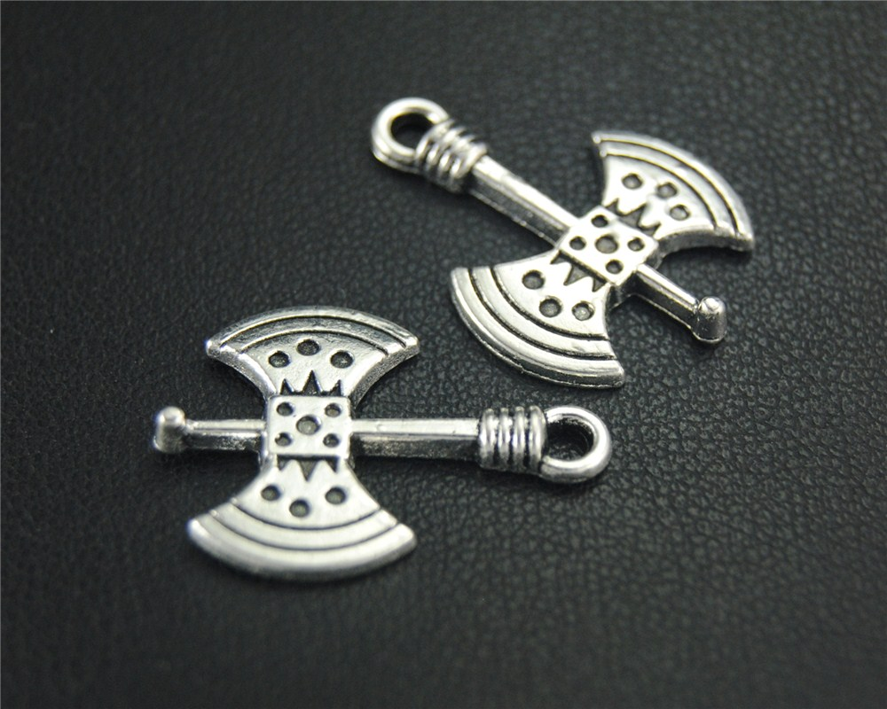 30 pçs cor de prata machado charme pingente diy colar pulseira descobertas 24x18mm a1848