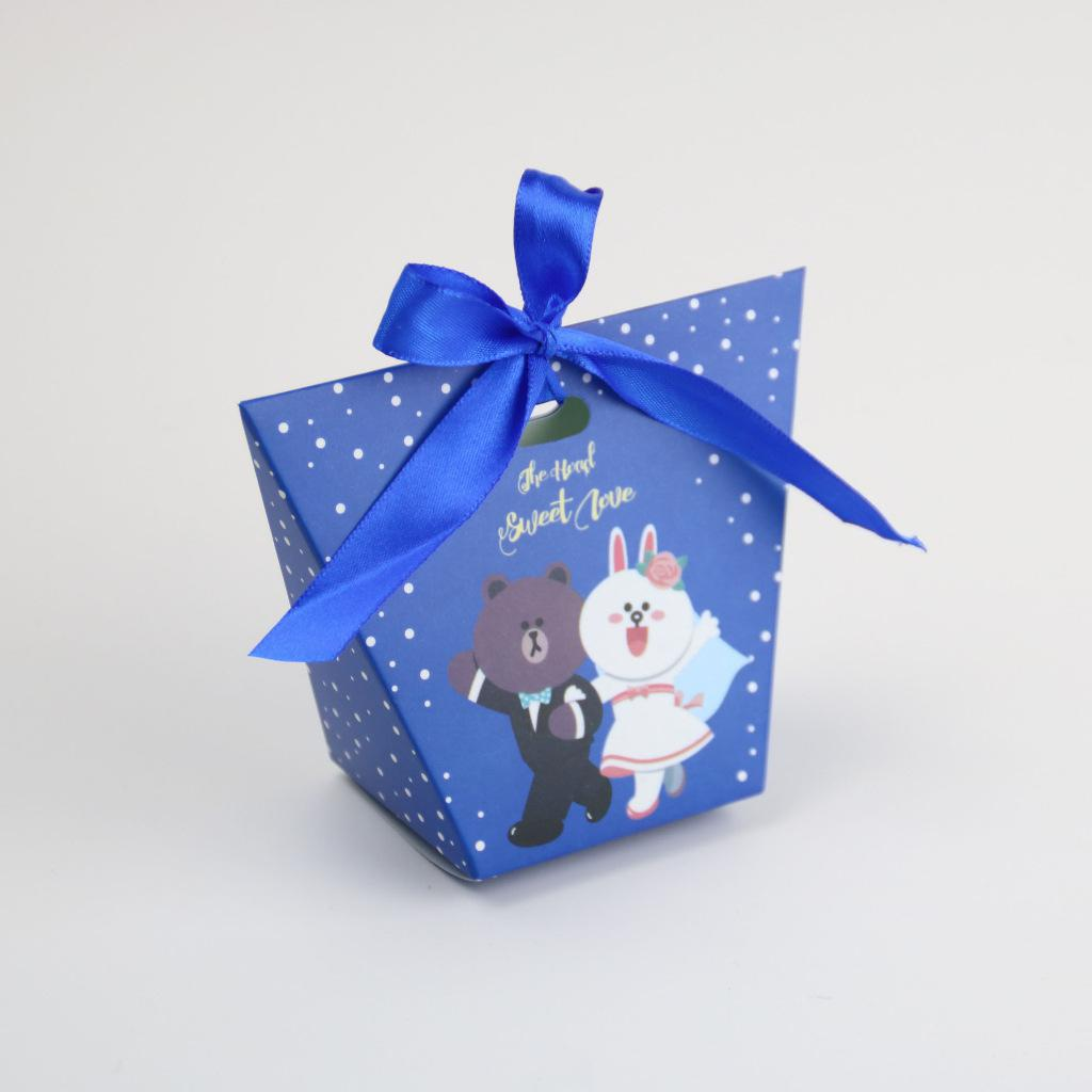Caja De caramelos para manualidades De boda con pareja De conejo azul...