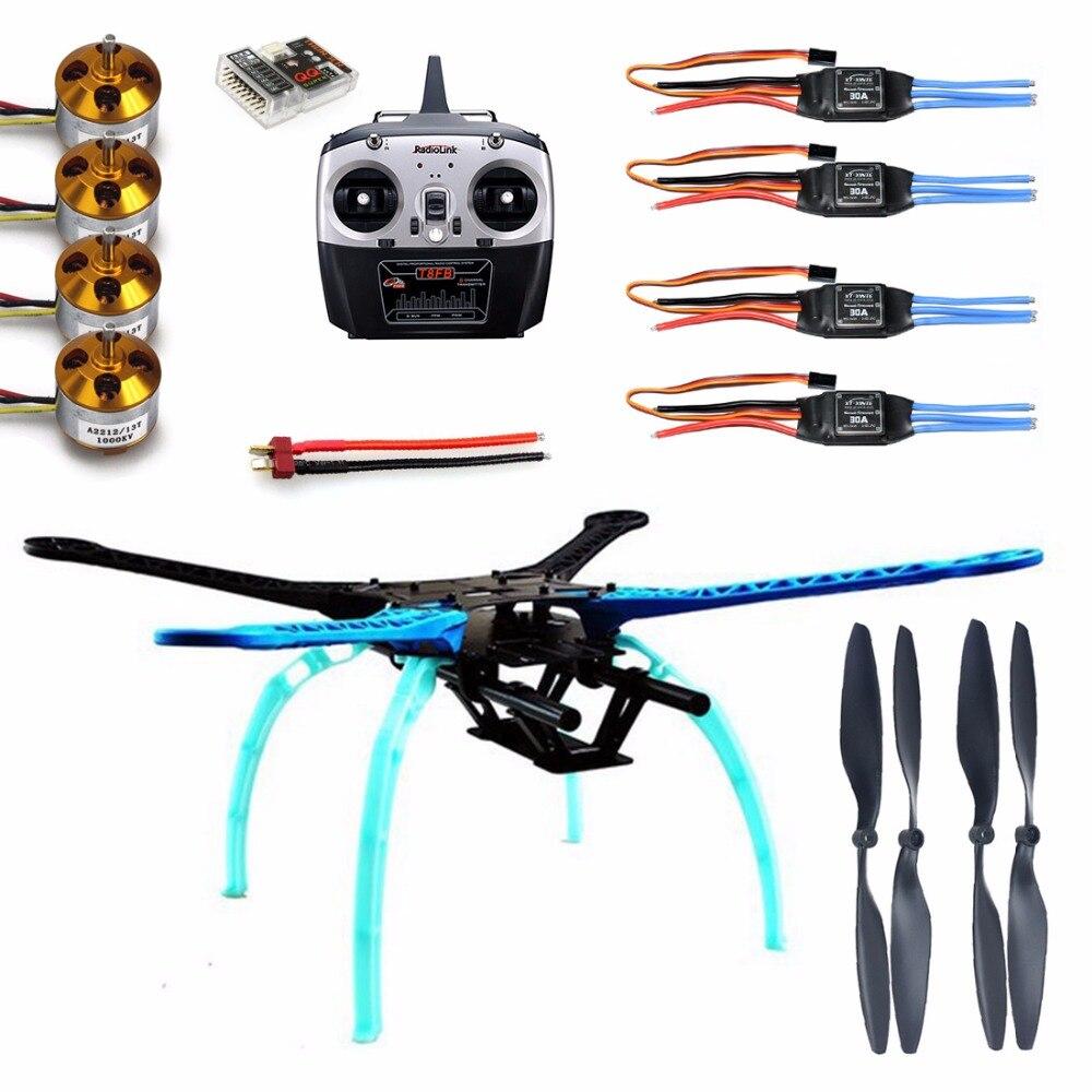 F08151-B 500mm Multi-Rotor Kit de bastidor de aire S500 w/tren de aterrizaje + ESC Motor soldado + súper QQ Tablero de Control + t8sf 8CH RX & TX + hélices