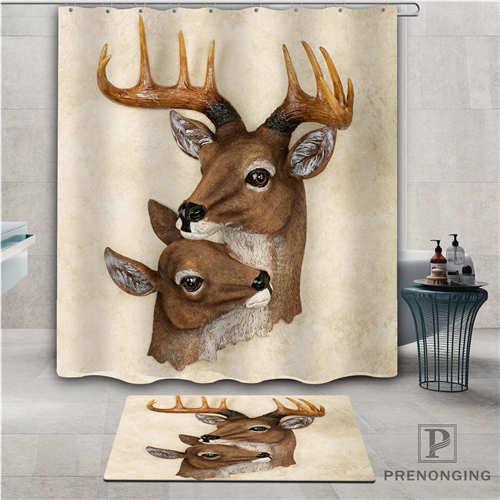 Personalizado cabeza de ciervo (1) Cortina de ducha impermeable felpudo hogar Baño tela poliéster para el baño Multi tamaños #2019-01-12-225