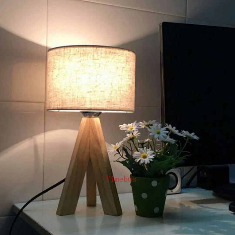 Modern 3-leg wooden table desk lamps for study room children room bedroom wood led desk light with shade table lights Escritorio