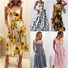 Verão sexy praia longo boho feminino vestido cinta impressão floral casual solto plus size robe femme midi vestido elegante