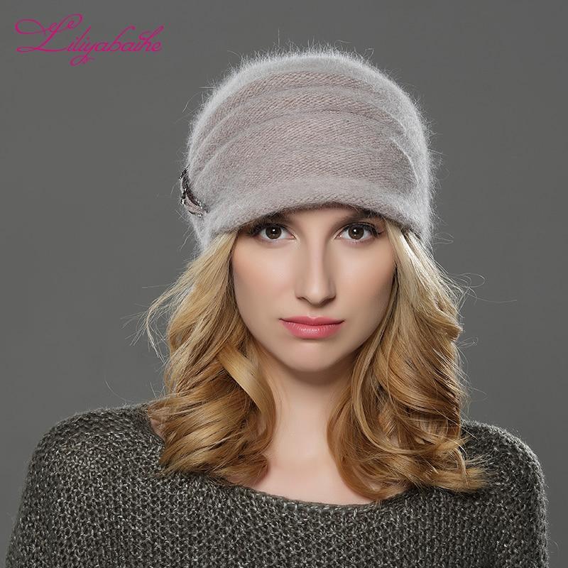 LILIYABAIHE, nuevo estilo, sombrero de invierno para mujeres, sombrero de ala, sombrero de lana de angora tejido, Soolid, decoración vertical de flores, gorro cálido Doble