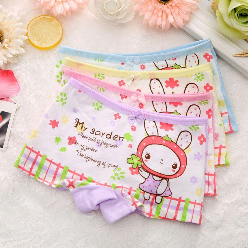 4pcs/lot Girls Underwear Briefs Panties Cartoon Kitty Bunny Baby Kids Panties Wholesale Shorts for Children underpants cotton