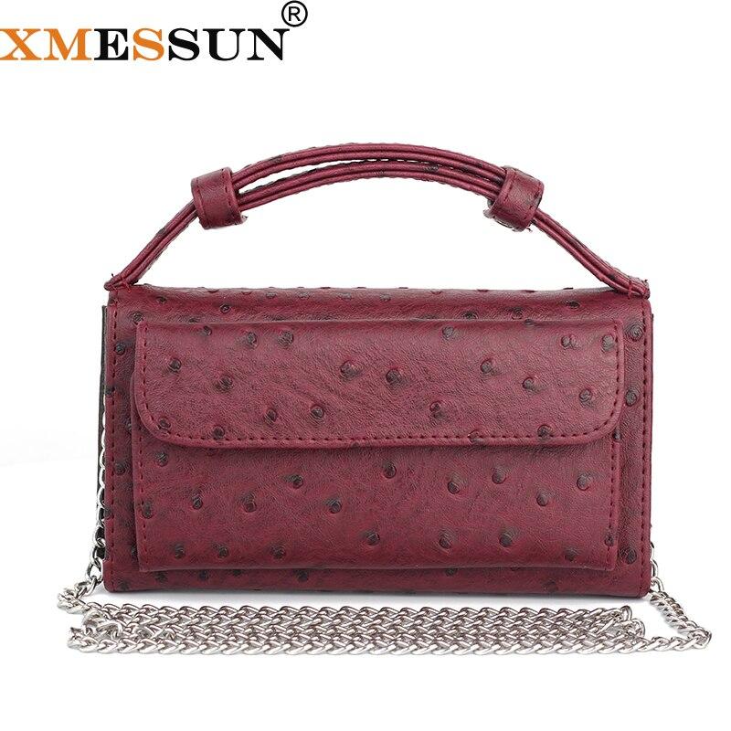 XMESSUN Fashion Cow Leather Day Clutch One Shoulder Cross-body Bag Ostrich Pattern Genuine Leather Clutch Chain Womens Handbags
