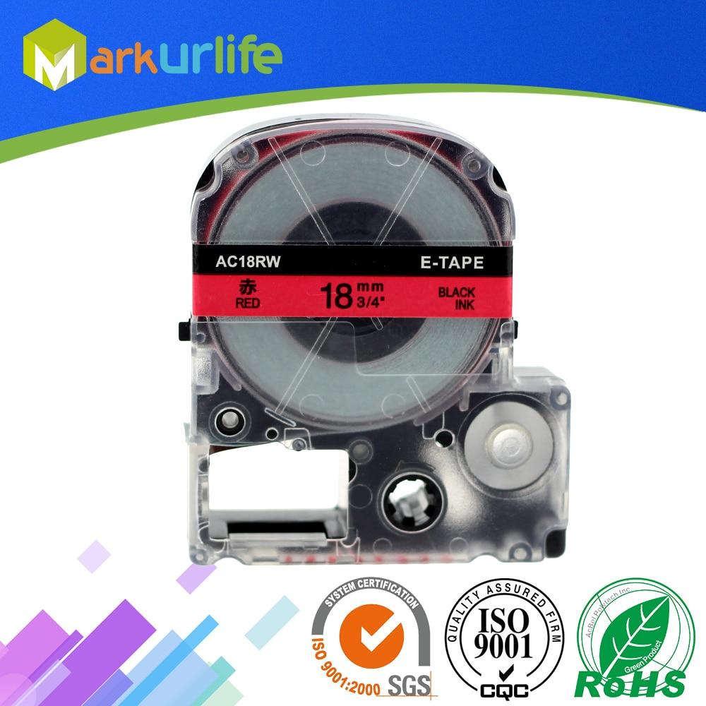 1 unids/lote cinta Compatible con EPSON LW-300 LW-400 LW-600P LW-700 LC-4WBN9 impresora (18mm x 8 m, negro sobre Rojo) gran oferta