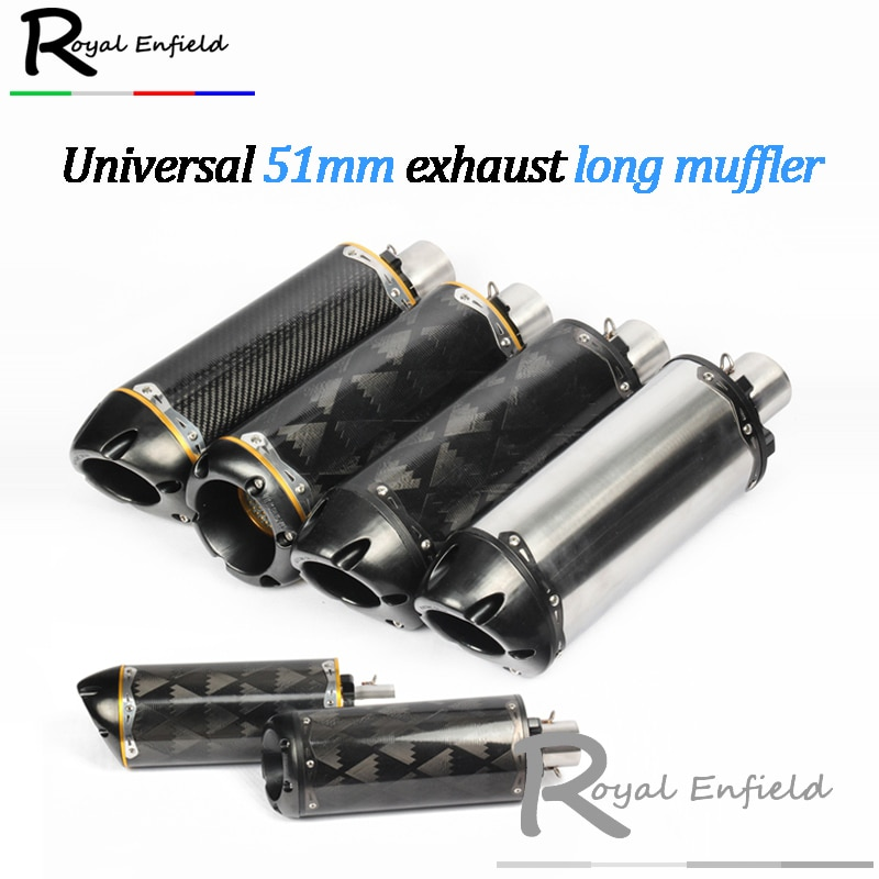 Modified motorcycle exhaust pipe CNC aluminium alloy carbon fiber CBR R1 R6 ESCAPE 51mm exhaust long muffler
