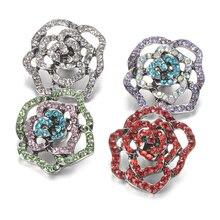 DIY encaje joyas de diamantes de imitación cristal flor botón de ajuste 18mm broches de brazaletes de la pulsera para las mujeres joyería VN-2013