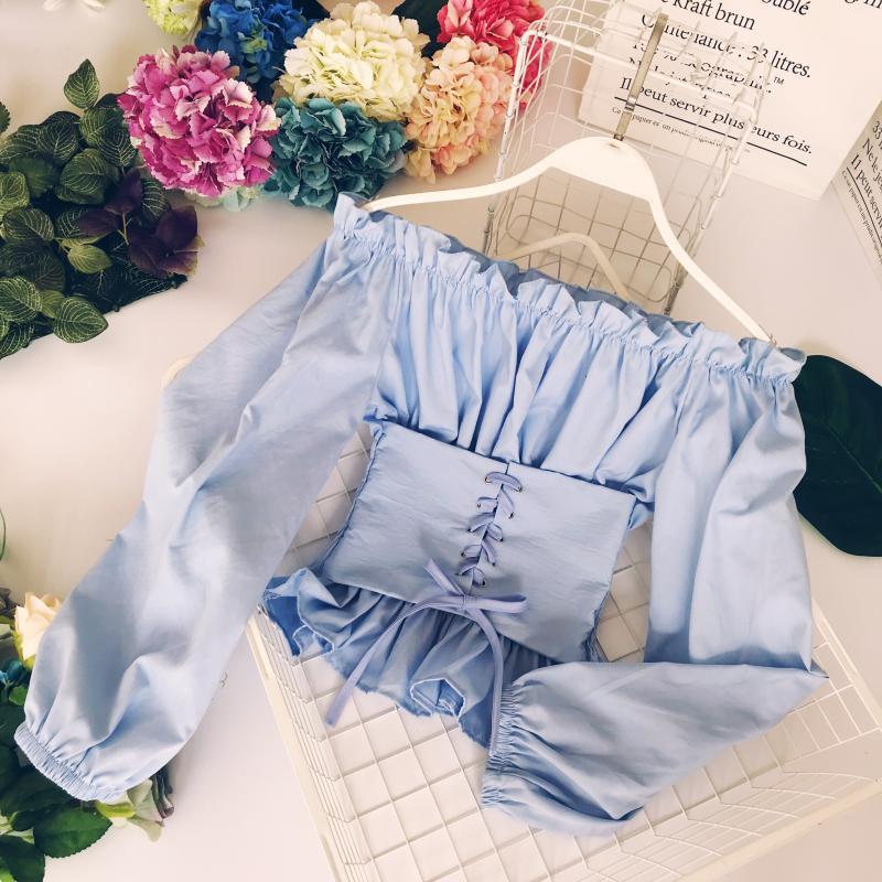Envío Gratis mulit color elegir elástico señoras medieval slashshed collar Top atado arriba blusas y camisas