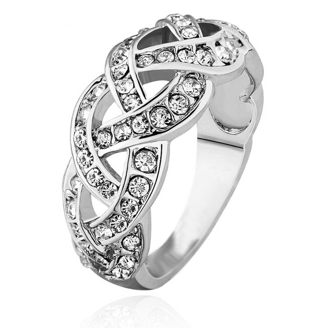 Marca promessa anéis de noiva fábrica s qualidade superior branco quente popular cristal rinestones twist feminino menina casal