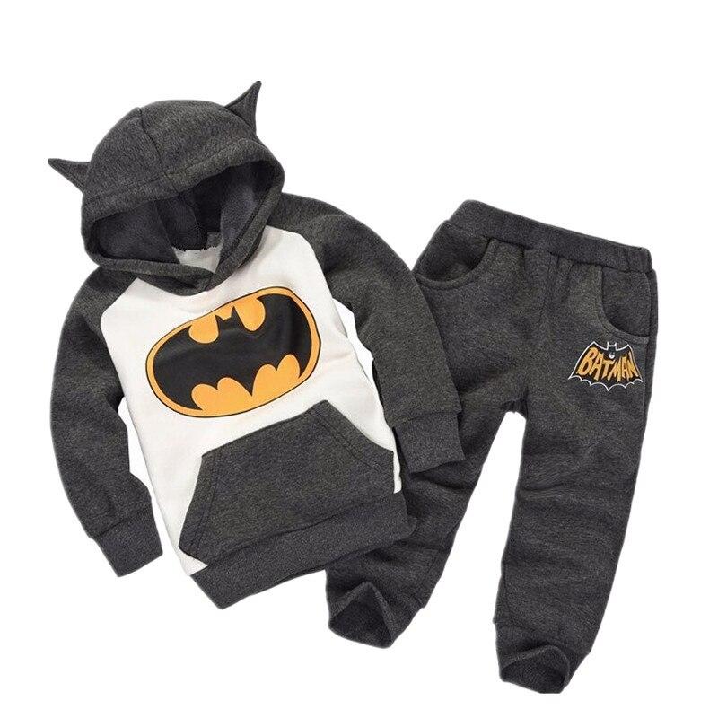 Ropa de algodón para bebés, ropa deportiva de dos piezas cálida para niños, conjunto de disfraz de personaje de dibujos animados Batman Baby boy