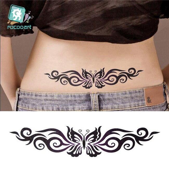 Caliente 2020 tatuaje de mariposa negra con diseño de flor temporal Tribal cuerpo tatuaje pegatina brazo pierna vientre impermeable para mujeres