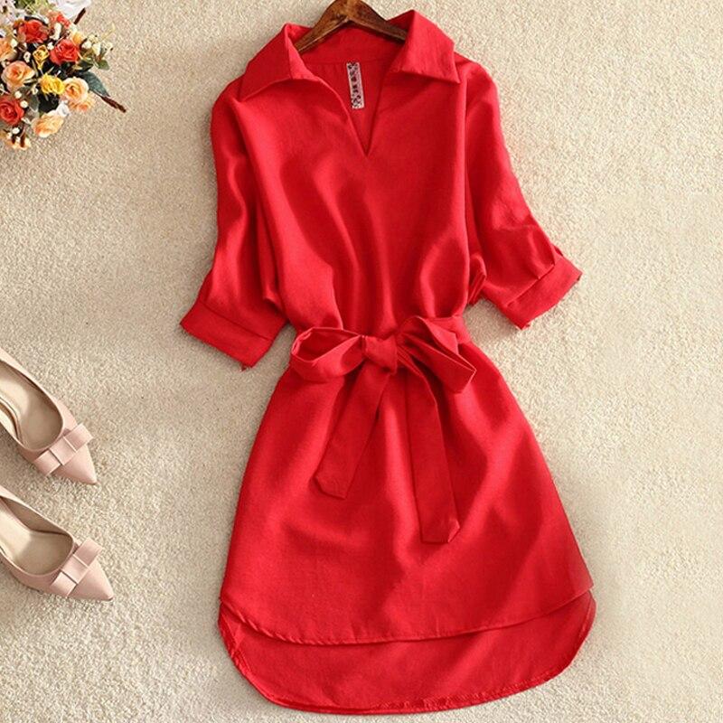 Mujer camisa tipo blusa larga 2019 verano Casual vestido sólido rojo gasa Tops para mujeres señoras túnica Blusas Chemisier Vestidos Mujer