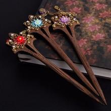 Frauen Holz Haar Anstecknadel Handmade Strass Blume Holz Stilvolle Vintage Brauthair