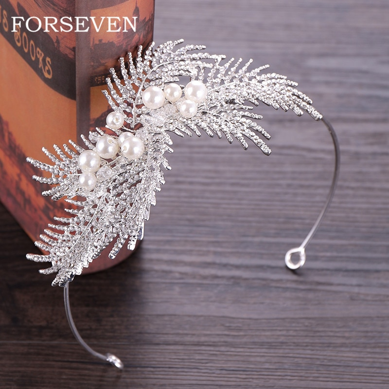 Corona de perlas para ornamentos de boda para el cabello tiaras de novia de plumas con perlas diademas de mujer corona de boda diadema de perlas de diamantes de imitación