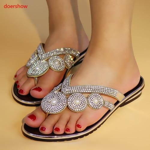 doershow African sandals high quality slipper summer low heels women shoes for wedding!KL1-23
