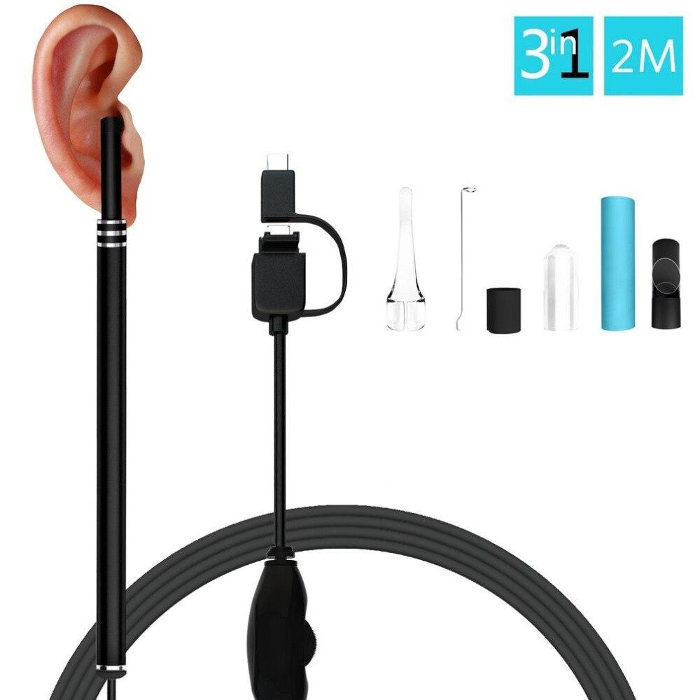 Limpiador de orejas endoscopio de 5,5mm lente otoscopio cera de los oídos limpieza cuchara removedor para Smartphone PC
