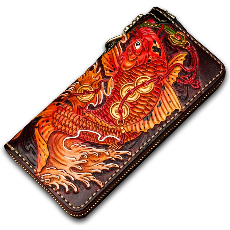 Handmade Genuine Leather Wallets Chinese Carving Carp Bag Purses Women Men Clutch Vegetable Tanned Leather Wallet Christmas Gift