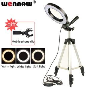 Image 1 - Светодиодный кольцевой светильник для студийной фотосъемки со штативом и USB разъемом