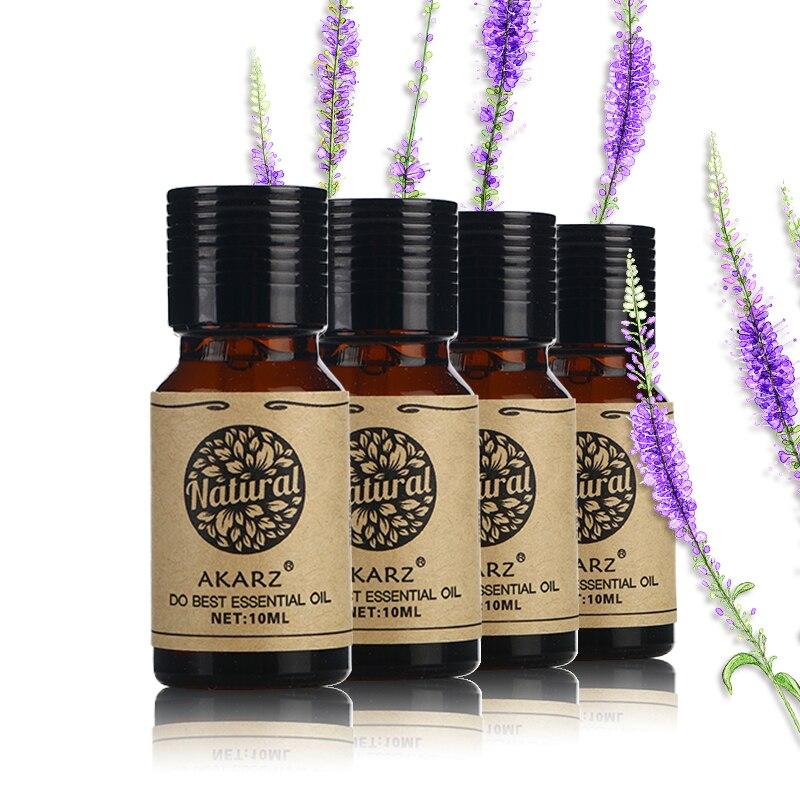 Aceite Esencial de Manzanilla de Laurel de eucalipto de AKARZ Patchouli para masaje, Spa, baño, cuidado facial, 10ml x 4
