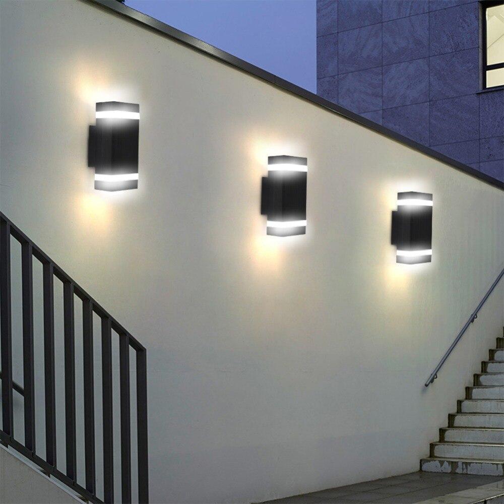 1 pçs moderno para cima para baixo luz de parede alumínio vidro temperado led lâmpada parede interior ao ar livre casa jardim sala estar quarto decoração