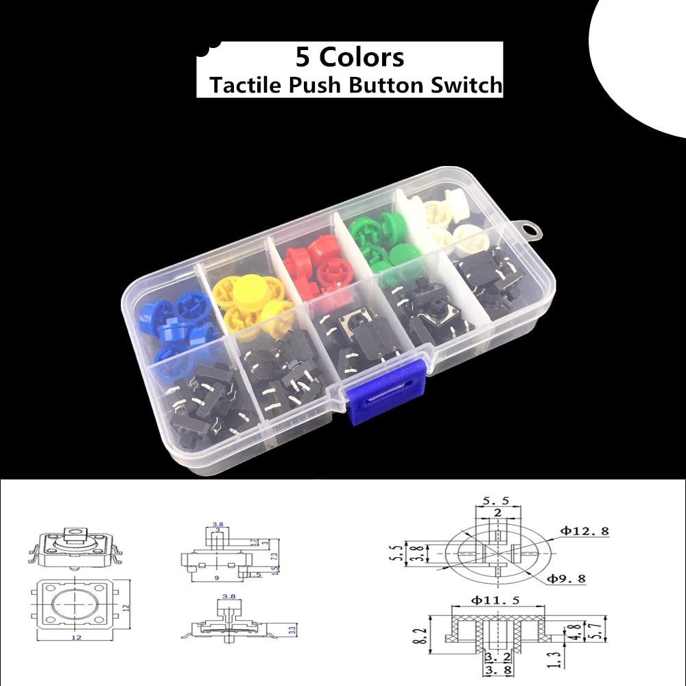 5 colores 12*12*7,3 MM Micro interruptor botón tacto tapa táctil botón interruptor momentáneo 25 unids/set