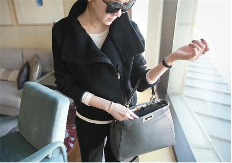 Personality winter cashmere cardigan women's zipper long-sleeved knit sweater turtleneck sweater coat Woolen sweater casual