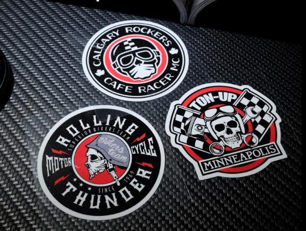 retro Cafe Racer calgary rockers stickers skull motorcycle rolling thunder sticker racing vinyl  motocross helmet decals