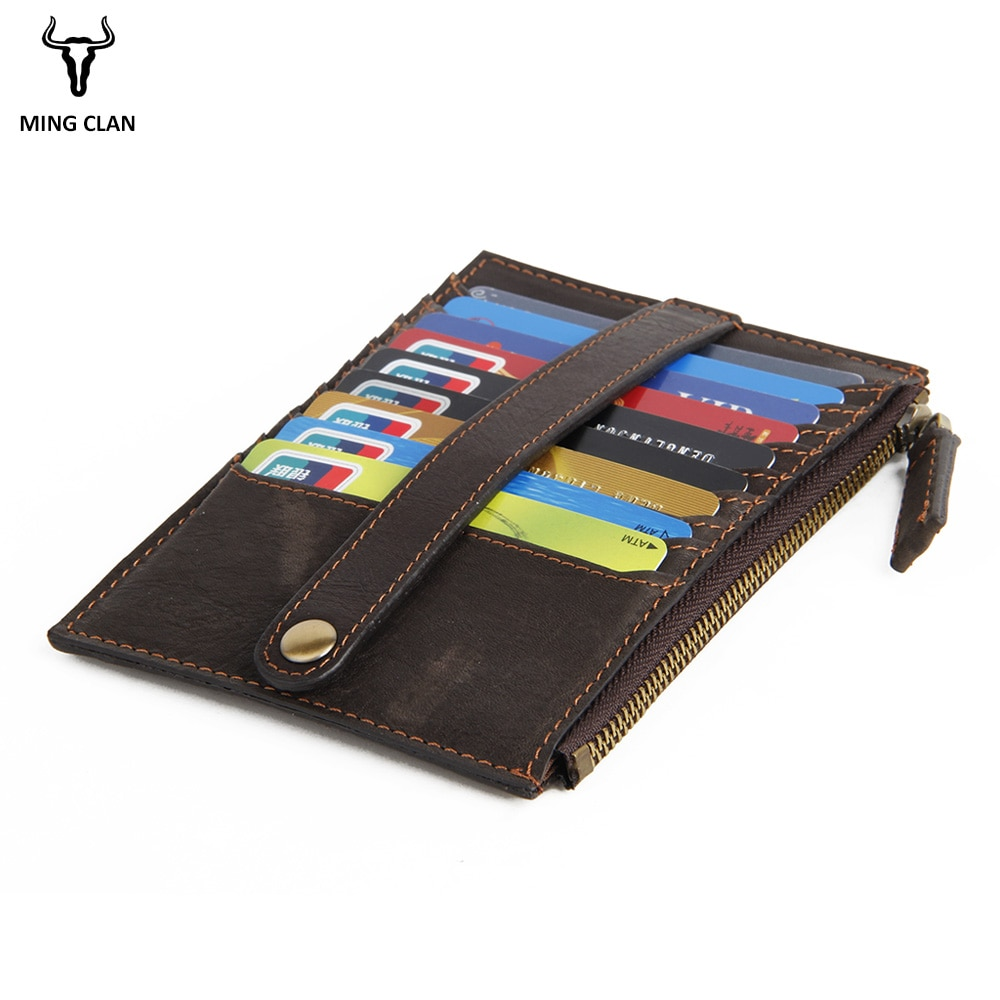 Mingclan Crazy Horse cartera larga para cartera con bolsillo de cremallera tarjetero Clutch Wallet Ticket Bank Card Bag funda monedero tarjeta de crédito