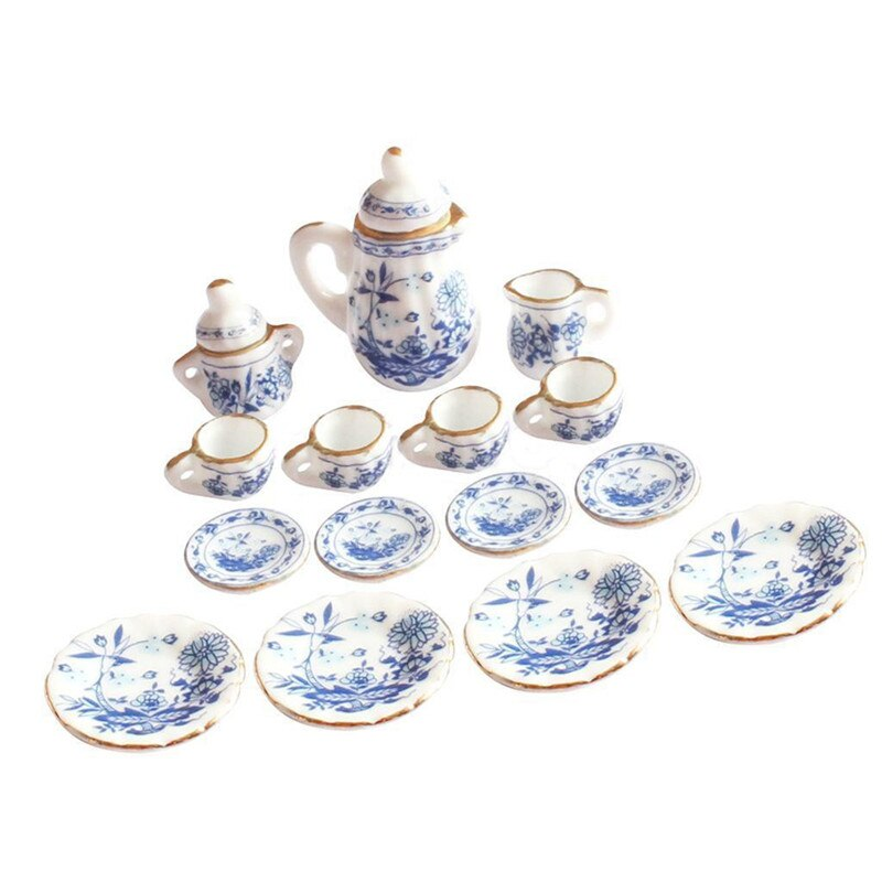 15 шт./компл. кукольный домик Миниатюрный 1/12 обеденный синий цветочный керамический чайный набор чашка тарелка для кукольного домика Декор и...