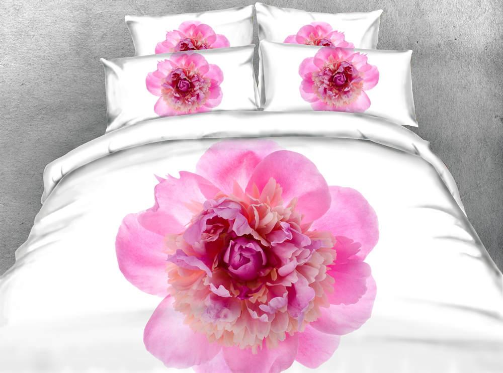 Edredón estampado 3d, juego de cama, edredón, funda de edredón, colcha doble, tamaño king size, niña 500TC, rosa tejido chino