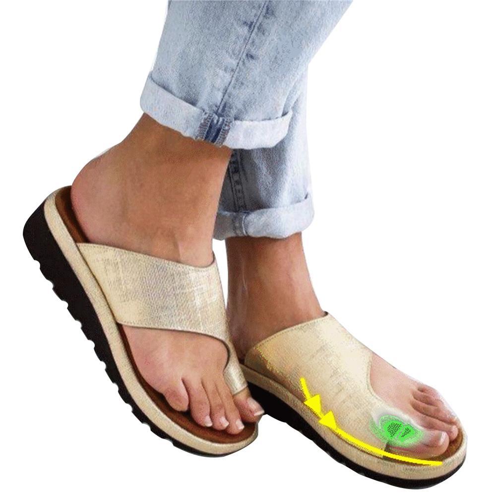 Sandalia de corrección de pie con Punta Grande, suela plana cómoda para mujer, zapatos de cuero PU suaves informales para mujer, Corrector ortopédico de juanete
