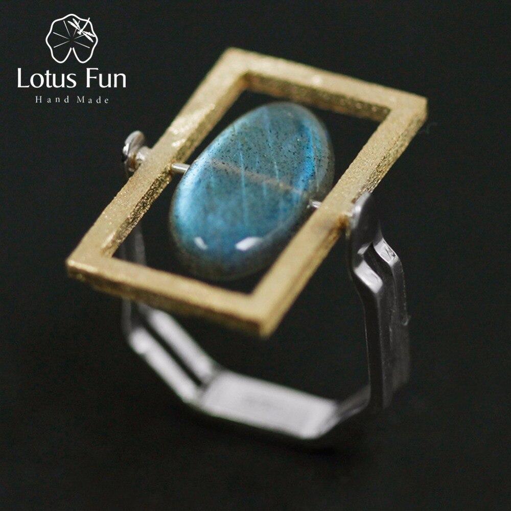 خاتم دائري مصنوع يدويًا من الفضة الإسترليني 925 من حجر اللابرادوريت الطبيعي مزين بحجر اللوتس للنساء بيجو