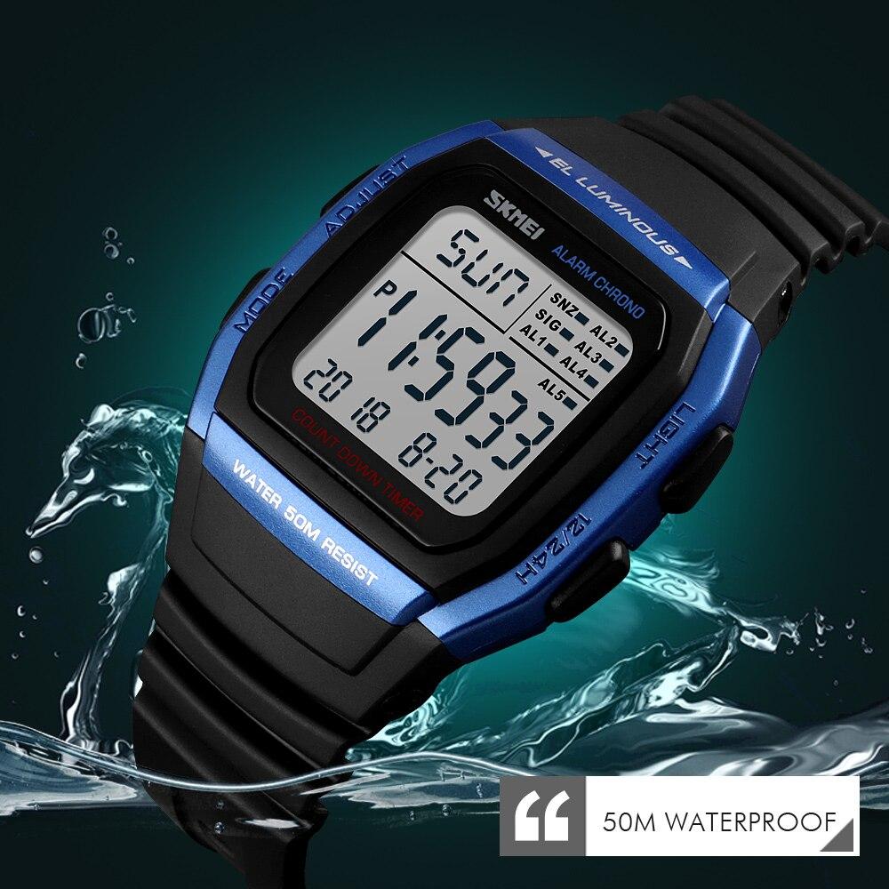 Moda skmei relojes de hombres deportes reloj Digital impermeable alarma hombre muñeca reloj electrónico hombres Relogio Masculino