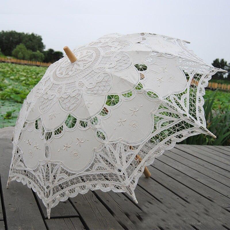 Laço guarda-sol guarda-chuva casamento elegante rendas guarda-chuva algodão bordado marfim battenburg