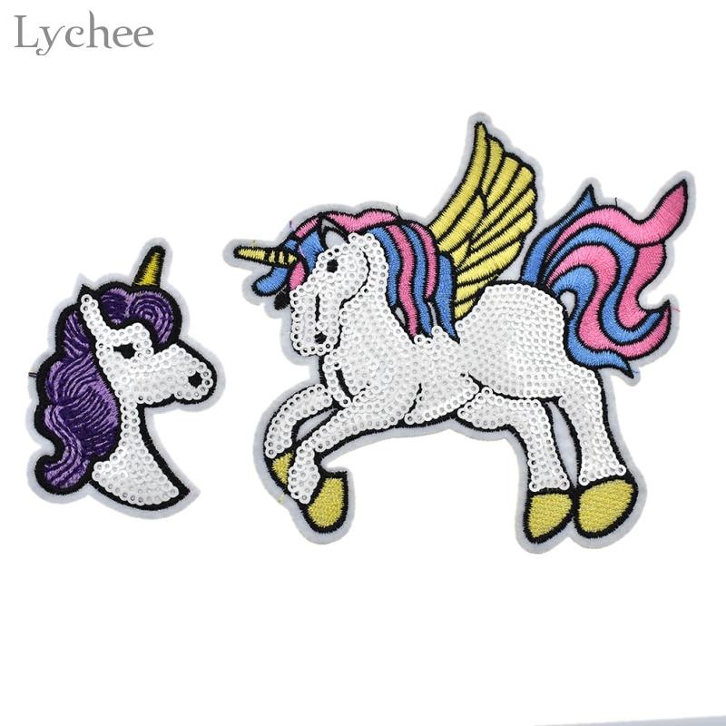 Parche de unicornio de Lychee Life con lentejuelas, parche bordado de dibujos animados, Parche de unicornio, ropa, apliques de costura, Parche de insignia DIY