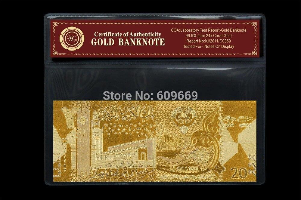 Billet de banque en or koweït 20 Dinar papier argent décoration de la maison et cadeaux de Collection