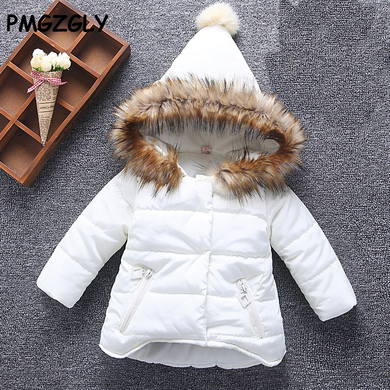Girl Parkas 1-5 T Wadded jacket Hooded collar down jacket children's Autumn Winter jackets Baby down
