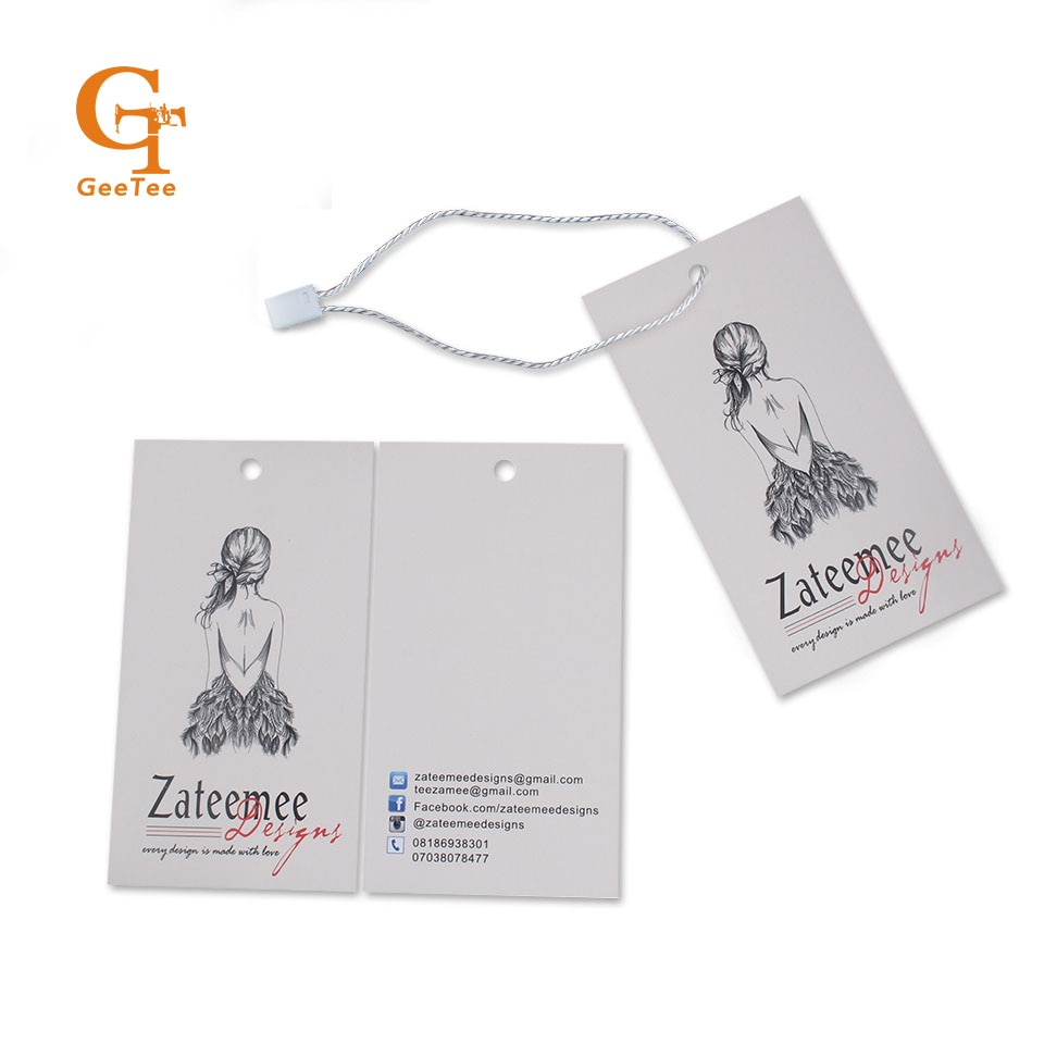 Etiquetas personalizadas da roupa do preço da roupa do cair etiquetas de papel etiquetas, etiquetas feitas sob encomenda da roupa da impressão da marca do logotipo etiquetas