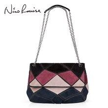 Women Real Suede Leather Shoulder Bag Fashion Lady Patch-color Chain Crossbody Purse Bolsa Female Messenger Handbag Sac